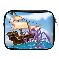 Pirate Ship Attacked By Giant Squid cartoon. Apple iPad Zippered Sleeve