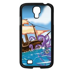 Pirate Ship Attacked By Giant Squid cartoon. Samsung Galaxy S4 I9500/ I9505 Case (Black)