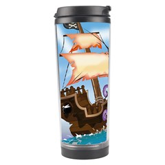 Pirate Ship Attacked By Giant Squid cartoon. Travel Tumbler