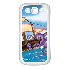 Pirate Ship Attacked By Giant Squid cartoon. Samsung Galaxy S3 Back Case (White)