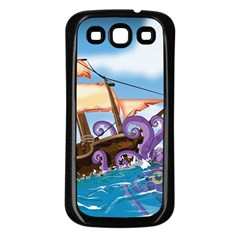 Pirate Ship Attacked By Giant Squid cartoon. Samsung Galaxy S3 Back Case (Black)