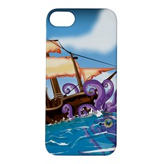 Pirate Ship Attacked By Giant Squid cartoon. Apple iPhone 5S Hardshell Case