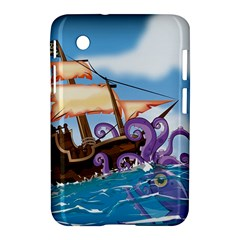 Pirate Ship Attacked By Giant Squid cartoon. Samsung Galaxy Tab 2 (7 ) P3100 Hardshell Case