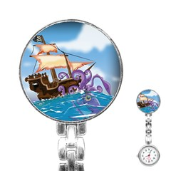 Pirate Ship Attacked By Giant Squid cartoon. Stainless Steel Nurses Watch