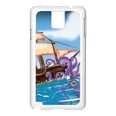 Pirate Ship Attacked By Giant Squid cartoon. Samsung Galaxy Note 3 N9005 Case (White)
