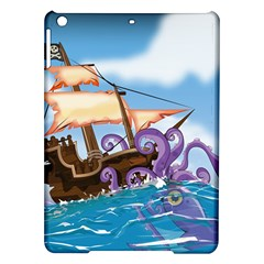 Pirate Ship Attacked By Giant Squid cartoon. Apple iPad Air Hardshell Case