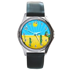 Cactus Round Leather Watch (Silver Rim)