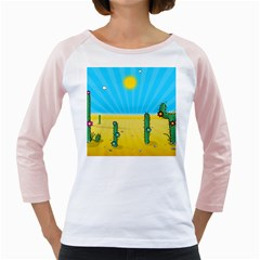 Cactus Women s Long Cap Sleeve T-Shirt (White)