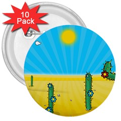 Cactus 3  Button (10 pack)
