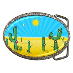 Cactus Belt Buckle (Oval)