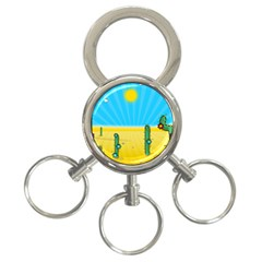 Cactus 3-Ring Key Chain