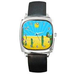 Cactus Square Leather Watch