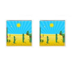Cactus Cufflinks (Square)
