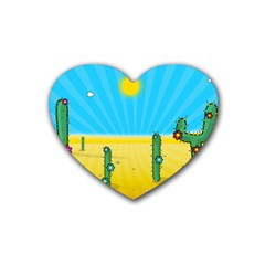 Cactus Drink Coasters 4 Pack (heart)