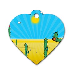 Cactus Dog Tag Heart (One Sided)