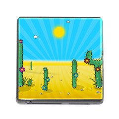 Cactus Memory Card Reader with Storage (Square)