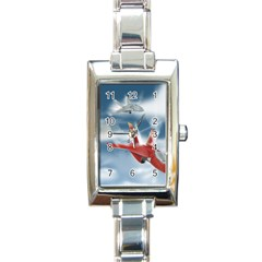 America Jet fighter Air Force Rectangular Italian Charm Watch