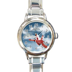 America Jet fighter Air Force Round Italian Charm Watch