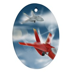 America Jet fighter Air Force Oval Ornament