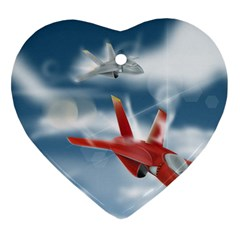 America Jet fighter Air Force Heart Ornament