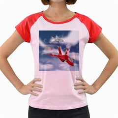 America Jet fighter Air Force Women s Cap Sleeve T-Shirt (Colored)