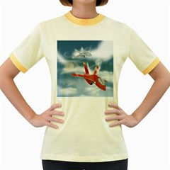 America Jet fighter Air Force Women s Ringer T-shirt (Colored)