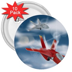 America Jet Fighter Air Force 3  Button (10 Pack)