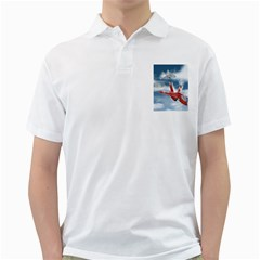 America Jet fighter Air Force Men s Polo Shirt (White)