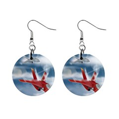 America Jet fighter Air Force Mini Button Earrings