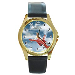 America Jet fighter Air Force Round Leather Watch (Gold Rim)