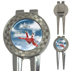 America Jet Fighter Air Force Golf Pitchfork & Ball Marker