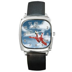 America Jet Fighter Air Force Square Leather Watch