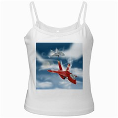 America Jet fighter Air Force White Spaghetti Top