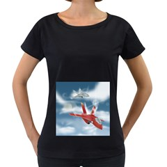 America Jet fighter Air Force Women s Loose-Fit T-Shirt (Black)