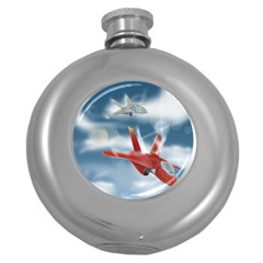 America Jet fighter Air Force Hip Flask (Round)
