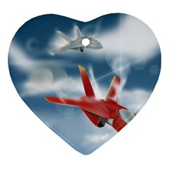 America Jet fighter Air Force Heart Ornament (Two Sides)