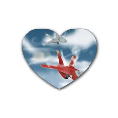 America Jet fighter Air Force Drink Coasters 4 Pack (Heart)