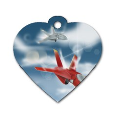 America Jet Fighter Air Force Dog Tag Heart (two Sided)
