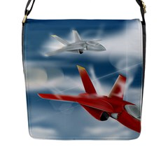 America Jet fighter Air Force Flap Closure Messenger Bag (Large)