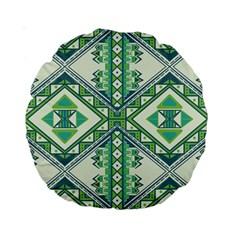 Green Pattern 2 15  Premium Round Cushion