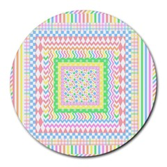 Layered Pastels 8  Mouse Pad (Round)