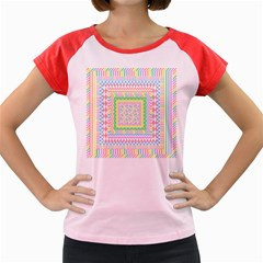 Layered Pastels Women s Cap Sleeve T-Shirt (Colored)