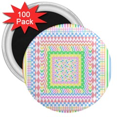 Layered Pastels 3  Button Magnet (100 pack)