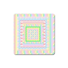 Layered Pastels Magnet (Square)