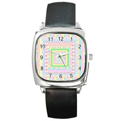 Layered Pastels Square Leather Watch