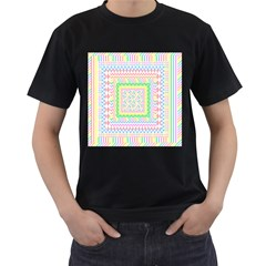 Layered Pastels Men s Two Sided T-shirt (Black)
