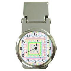 Layered Pastels Money Clip With Watch