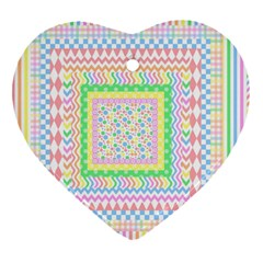 Layered Pastels Heart Ornament (two Sides)