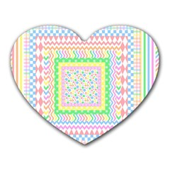 Layered Pastels Mouse Pad (Heart)