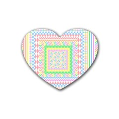 Layered Pastels Drink Coasters 4 Pack (Heart)